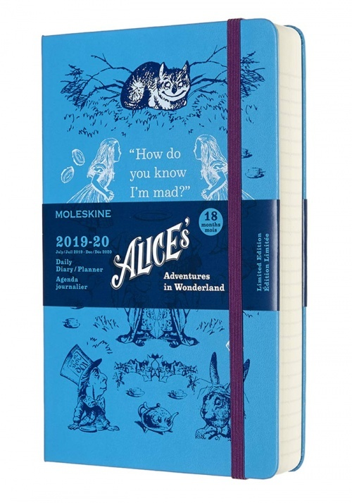 Kalendarz Moleskine 2019-2020 18-miesięczny Alicja w Krainie Czarów rozmiar L (13x21 cm) Dzienny Niebieski Twarda oprawa (Moleskine Limited Edition Alice in Wonderland Daily Notebook/Planner 2019/20 Blue Large Hard Cover